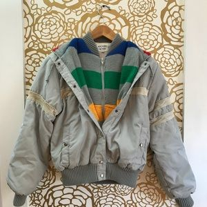 Vintage Sweater Bomber Jacket Rainbow Made in USA